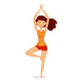 cute girl standing in tree pose meditation yoga vector image