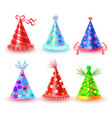 decorated colorful party hats icons set vector image