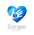 Donation sign icon Donate money hand and heart vector image vector image