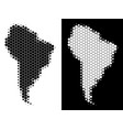 dotted halftone south america map vector image