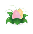 easter eggs in pastel color among green leaves vector image