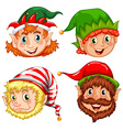 four characters christmas elves vector image vector image