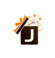 gift box ribbon letter j vector image