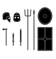gladiator weapons and armors set ancient warrior vector image vector image