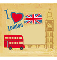 grunge card with icons of London vector image