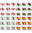 Guernsey Wales Ingushetia Spain Set of 36 flags of vector image