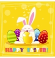 Happy ester rabbit and multicolored eggs vector image