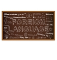 Hello in different languages Chalk board doodle vector image