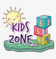 kids zone with cubes game and sun vector image