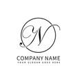 letter n script initial luxury logo design vector image vector image