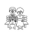 line old couple in the chair with hairstyle vector image vector image