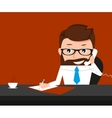 Lucky businessman is signing contract and talking vector image vector image