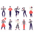mimes characters silent actors pantomime and vector image