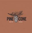 pine cone vintage retro logo icon vector image