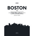poster city skyline boston flat style vector image