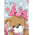 Puppy with flower vector image vector image
