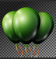 realistic dark green balloons with ribbons vector image vector image