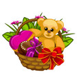 romantic gift basket with sweets and a toys vector image