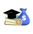 scholarship concept money and books for college vector image vector image