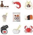 Seafood flat color icons collection vector image
