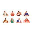 set happy people eating delicious dessert vector image