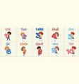 set kids with number one to ten vector image vector image