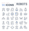 set line icons robots vector image vector image