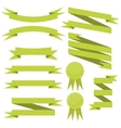 set of flat green ribbons vector image