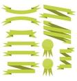 set of flat green ribbons vector image vector image