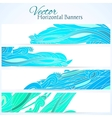 Set of three banners with water hand drawn waves vector image vector image