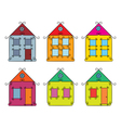 set of vintage color houses vector image vector image