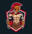 sparta warrior logo mascot emblem vector image vector image