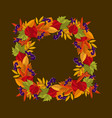 square frame of autumn leaves wreath with autumn vector image
