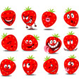 strawberry emoticon - flat wit vector image