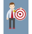 Successful man or teacher holding a target with vector image vector image