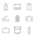 travel suitcase icon set outline style vector image vector image