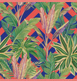 tropical leaves seamless pattern coral blue vector image vector image
