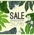 tropical summer sale banner with flowers and vector image