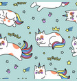 unicorn cat pattern vector image vector image