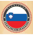 Vintage label cards of Slovenia flag vector image vector image