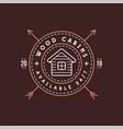 Vintage logo with wooden cabin retro print design