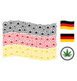 waving german flag pattern of cannabis icons vector image