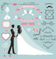 wedding invitation decor set with coupleswirling vector image vector image