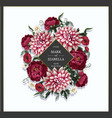 wedding invitation with dahlia peonies and wild vector image vector image