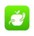 worm apple icon green vector image vector image