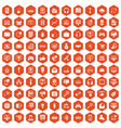 100 web and mobile icons hexagon orange vector image vector image
