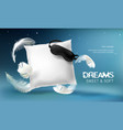 3d realistic white pillow vector image vector image