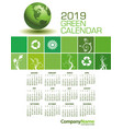 an elegant 2019 green calendar vector image vector image