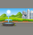 an outdoor scene with fountain vector image