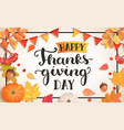 banner for happy thanksgiving day vector image vector image